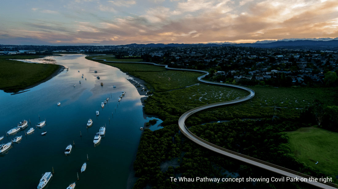 Aerial mockup of Te Whau Pathway boardwalks